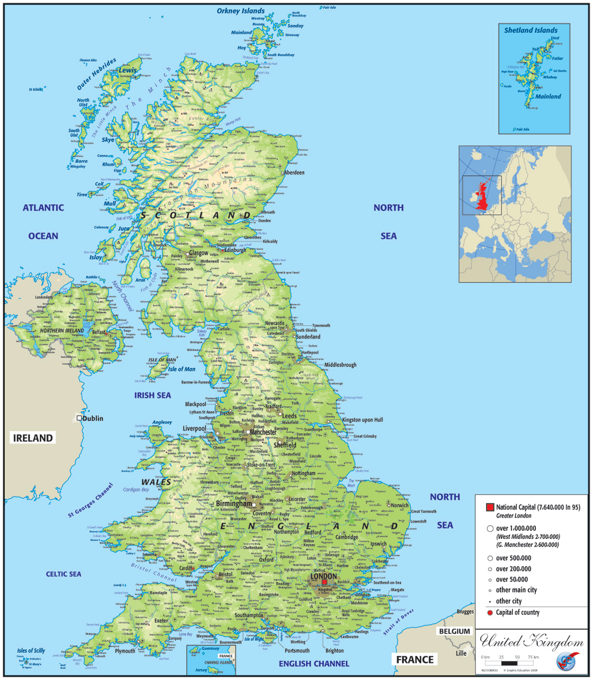 Picture of: United Kingdom Physical Map Graphic Education